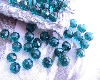 8 pcs Glass Beads Teal Bead 10mm Faceted Rondelle Bead Jewelry Supplies Beads