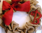 Burlap Wreath With Wooden Initial