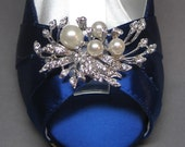 Wedding Wedges in Royal Blue Satin with Pearl and Rhinestone Adornment