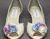 Ivory Wedding Shoes -- Ivory Satin Kitten Heels with Lace Overlay and Wedding Flower Details