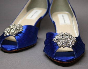 Blue Wedding Shoes -- Royal Blue Peeptoe Wedding Shoes with Silver Rhinestone Adornment