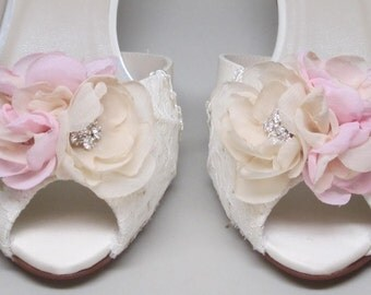 Lace Wedding Shoes -- Ivory Satin Kitten Heels with Lace Overlay and Ivory and Pink Flower Adornment