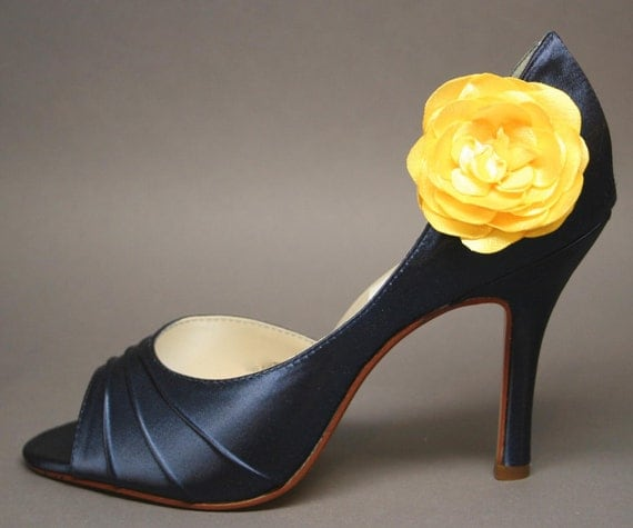Wedding Shoes - Navy Blue Peeptoes with Yellow and Satin Flower Adornment