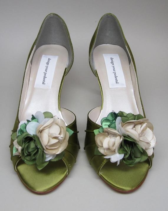 Custom Wedding Shoes Sage Green Peeptoe By DesignYourPedestal