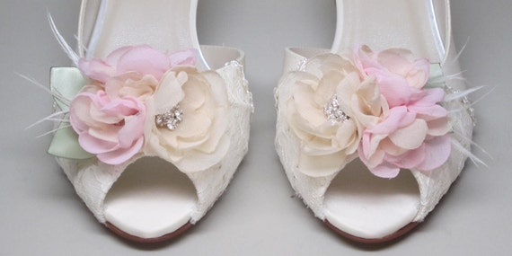 Pink Wedding Shoes Low Heel: Ivory Wedding Shoes Ivory Satin Kitten Heels With Lace