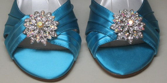 SAMPLE SALE Wedding Shoes -- Aqua Blue Peeptoe Wedge Shoes with Silver Rhinestone Adornment -- Size 9.5 Only