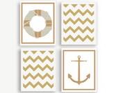 Nautical Nursery Art- Set of 4 Prints- Anchor Nursery Art- Anchor Nursery Print- Chevron Nursery Art- Nautical Chevron- Girls Nautical Decor