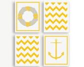 Set Of 4 Prints - Yellow And White - Nautical Wall Decor- Nautical Art Print- Pattern Print- Modern Wall Prints- Modern Wall Decor- Dorm Art
