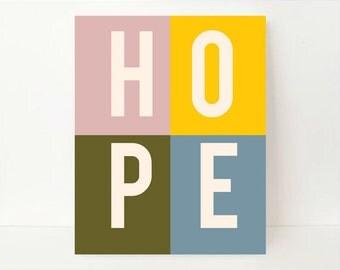 Hope Art, Hope Wall Art, Wall Art Print, Typography Art, Typography Wall Art, Typography Print Wall Decor, Inspirational Print, Dorm Art