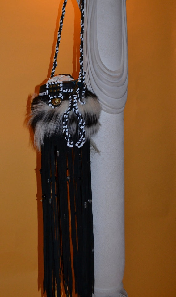 Floor Length Deer Hide Fringe Skunk Purse Little Fellow said to me... Do U Love ME.. You Must Love All Of Me... Ready To Ship