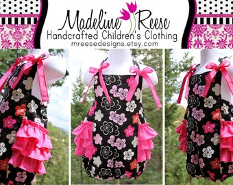 READY TO SHIP Size 2T Vibrant Pink and Black Designer Ruffled Bubble Romper with Matching Korker Bows