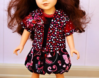 """Valentine's Day Shirt, Jacket and Ruffle Skirt Set for 18"""" Dolls-Fits American Girl, Journey Girls and Madame Alexander Dolls"""