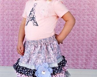 READY TO SHIP Size 3T Parisian Girl Ruffle Skirt Set with Matching Headband