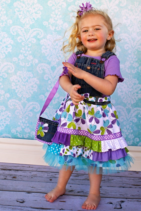 READY TO SHIP Size 3T Ruffle Overall Dress, Shirt, Belt and Purse for Summer