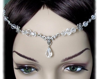 Floral Crystal Renaissance Medieval Circlet Headpiece Headdress Wedding Bridal Prom Head Piece Hair Accessory