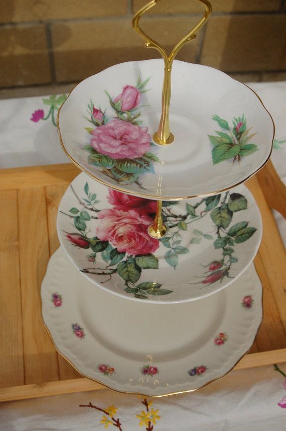 Vintage Tiered Cake Stand - The Rose Garden Vintage Three Tier Cakestand- TREASURY ITEM