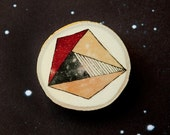 Geometric asteroids - Universe - Illustrated wooden brooch