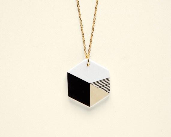 Hexagon N3 - Geometric Ceramic necklace