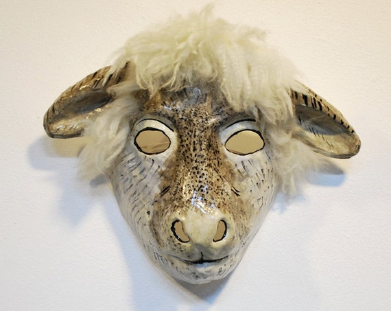 Paper mache sheep mask