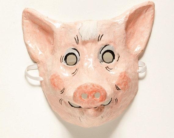 Paper mache pig mask
