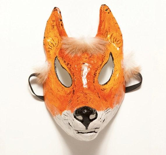 Paper mache fox mask
