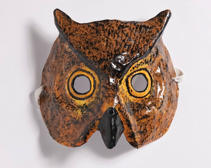 Paper mache owl mask for Paper mache mash