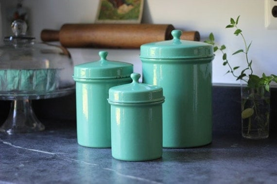 enamelware kitchen canisters jade green set of 3