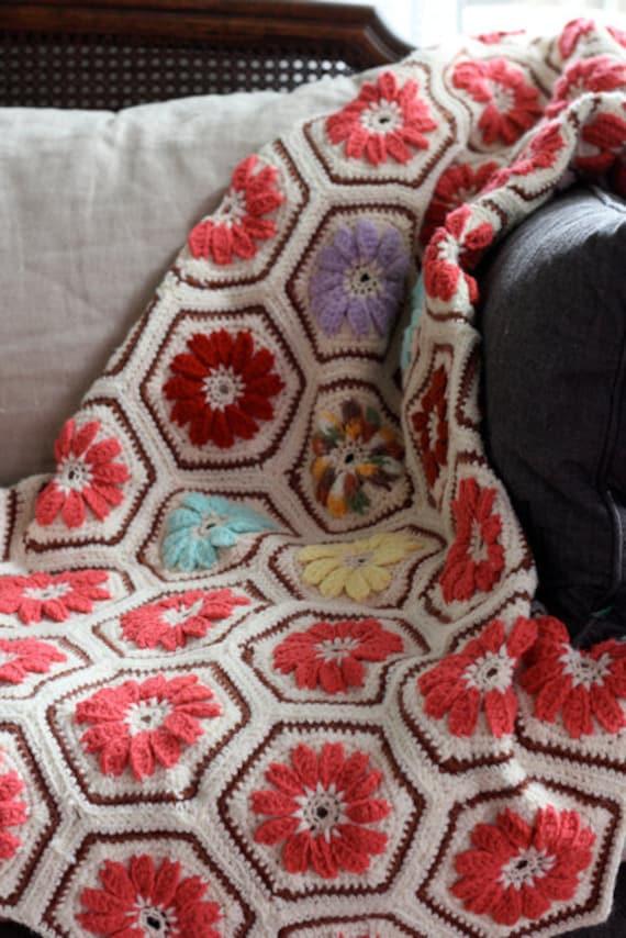 Vintage Crochet Blanket, Throw