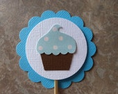 Blue Cupcake Toppers, Baby Boy Birthday or Shower, Set of 12, Ready to ship