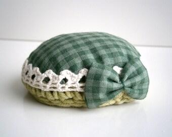 Pincushion Vintage designs Mini bow Green vichy Vintage lace Valentine's Day