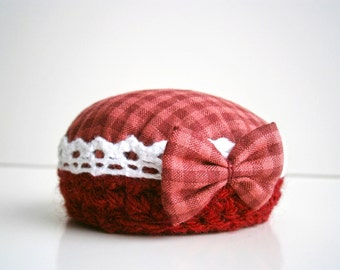 Mom Pincushion Vintage designs Mini bow Red vichy Vintage lace Mother's day  gift Vine Deep red white lace