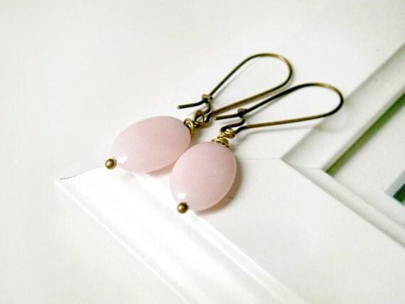 SALE Pale pink earrings jade and antique brass french hook  Oversize gemstone earrings Bronze tea rose