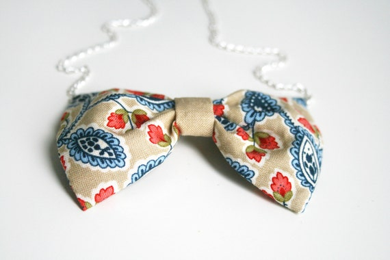 """SALE Paisley  bow tie necklace  Beis Blue Red Fabric bow pendant Silver chain 20"""" Kawaii Lolita Japanese look Blue polka dots"""