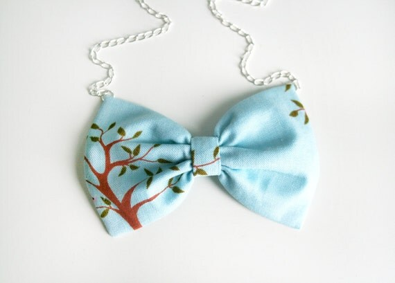"SALE Tree bow tie necklace  fabric bow  pendant Silver chain 20"" Kawaii Lolita Japanese look pastel Blue Leaves Woodland"
