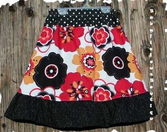 Girls Skirt Infant toddler flower Custom..Red Mocha Swirl..sizes 0-12 months, 1/2, 3/4, 5/6, 7/8, 9/10 Bigger Sizes Available
