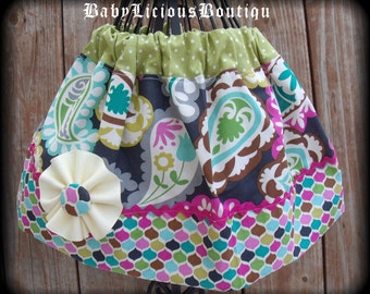 Girls Twirl Skirt Custom..Paisley Princess..Available in 0-12 months, 1/2, 3/4, 5/6, 7/8, 9/10 Bigger Sizes Available