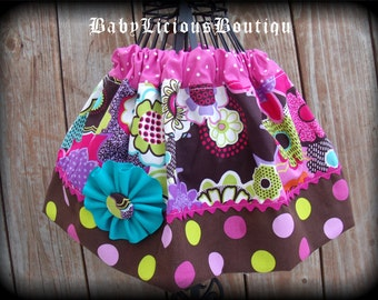 Girls Twirl Skirt Custom..Color Bloom..Available in 0-12 months, 1/2, 3/4, 5/6, 7/8, 9/10 Bigger Sizes Available