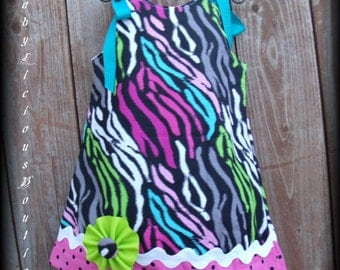 Girls Dress, Infant, toddler, Aline dress Custom..Wild Color Zebra..sizes 0-6, 6-12, 12-18, 18-24 months, 2T, 3T..Bigger sizes Also