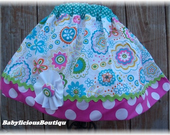 Girls Twirl Skirt Custom..Flower Booms..Available in 0-12 months, 1/2, 3/4, 5/6, 7/8, 9/10 Bigger Sizes Available