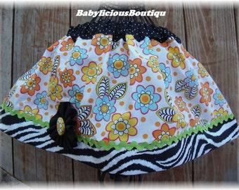 Girls skirt, Infant skirt, toddler skirt, Custom..Buzzin Around..sizes 0-12 months, 1/2, 3/4, 5/6, 7/8, 9/10 Bigger Sizes