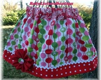 Girls Skirt Custom Twirl skirt...Christmas Dots..Available in 0-12 months, 1/2, 3/4, 5/6, 7/8, 9/10 Bigger Sizes Available
