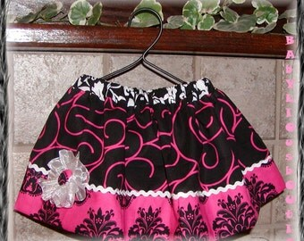 Girls Skirt infant toddler Skirt Custom..SWIRLY DAMASK..Available in 0-12 mon, 1/2, 3/4, 5/6, 7/8, 9/10 Bigger Sizes Available
