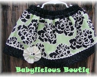Girls Skirt Custom..swirl N scroll..Available in 0-12 months, 1/2, 3/4, 5/6, 7/8, 9/10 Bigger Sizes Available