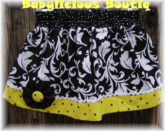 Girls infant toddler Skirt Custom..Princess Scroll..Available in 0-12 months, 1/2, 3/4, 5/6, 7/8, 9/10 Bigger Sizes Available