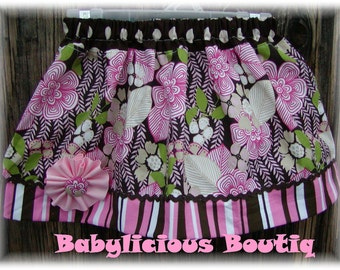 Girls Twirl Skirt Custom..Jazzy Flowers..Available in 0-12 months, 1/2, 3/4, 5/6, 7/8, 9/10 Bigger Sizes Available