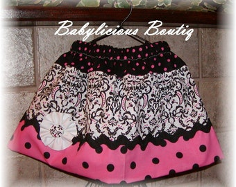 Girls Skirt Infant toddler flower Custom..Polka Dot Damask..sizes 0-12 months, 1/2, 3/4, 5/6, 7/8, 9/10 Bigger Sizes Available