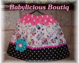 Girls Twirl Skirt Custom..Minnies Party..Available in 0-12 months, 1/2, 3/4, 5/6, 7/8, 9/10 Bigger Sizes Available