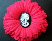 Red Black White Skeleton Lady Cameo Punk Pinup Hair Flower Clip