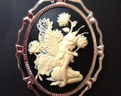 Fairy Cameo Gothic Necklace Pin Brooch Antique Vintage