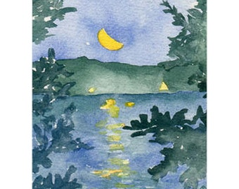 Moon Over Indian Lake Card, Worcester, Ma